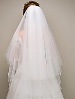 cheap -Two-tier Modern Style Bridal Princess Simple Style Wedding Wedding Veil Elbow Veils 53 Fringe Tulle