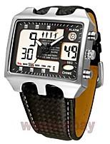 abordables -Hombre Pareja Cuarzo Reloj de Moda Reloj Deportivo Reloj Casual Chino Calendario Resistente al Agua Reloj Casual Piel Banda Casual Negro