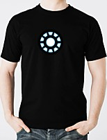 abordables -Camisetas LED  Luminoso Puro algodón LED Casual 2 Baterías AAA