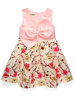 cheap -Girl's Daily Holiday Solid Colored Floral Dress, Cotton Polyester Spring Summer Sleeveless Cute Basic Blushing Pink