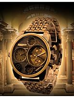 baratos -Oulm Homens Quartzo Relógio de Moda Relógio Casual Japanês Impermeável Relógio Casual Lega Couro Banda Luxo Fashion Preta Dourada