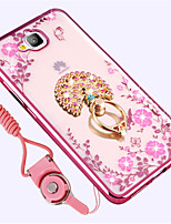 cheap -Case For Huawei Enjoy 5S Shockproof Rhinestone with Stand Back Cover Flower Soft Silicone for Huawei Enjoy 5