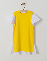 cheap -Girl's Daily Holiday Patchwork Dress, Cotton Spring Summer Short Sleeves Cute Active Yellow
