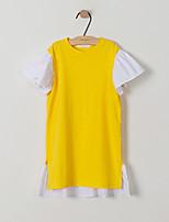 abordables -Vestido Chica de Diario Festivos Retazos Algodón Manga Corta Primavera Verano Bonito Activo Amarillo