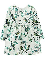 cheap -Girl's Daily Floral Dress, Polyester Spring Summer Long Sleeves Cute Light Green