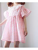 Недорогие -Девичий Платье Повседневные Хлопок Однотонный Лето С короткими рукавами Простой Черный Розовый