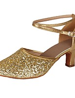 "cheap -Women's Latin Paillette Leatherette Heel Party Training Buckle Cuban Heel Gold 2"" - 2 3/4"" Customizable"