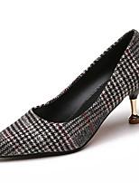abordables -Femme Chaussures Polyuréthane Printemps Eté Confort Chaussures à Talons Kitten Heel Bout pointu pour Décontracté Noir Orange Rouge