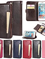 Недорогие -Кейс для Назначение Apple iPhone 6 Plus / iPhone 6 Кошелек / Бумажник для карт / со стендом Чехол Сплошной цвет Твердый Кожа PU для iPhone 6s Plus / iPhone 6s / iPhone 6 Plus