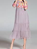 Недорогие -Жен. Большие размеры Рукава буффы Тонкие А-силуэт Платье - Однотонный, Плиссировка