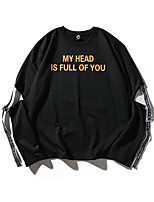 cheap -Men's Daily Letter Round Neck Sweatshirt Regular, Long Sleeves Spring Polyester