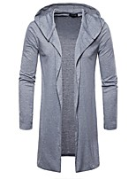 cheap -men's daily going out simple casual solid hooded hoodie long, long sleeves spring fall