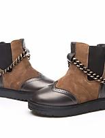 Недорогие -Жен. Обувь Шерсть Осень Зима Зимние сапоги Удобная обувь Ботинки На низком каблуке Ботинки для Повседневные Черный Коричневый