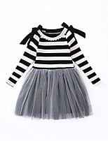 cheap -Girl's Daily Holiday Solid Striped Patchwork Dress, Cotton Polyester Spring Fall Long Sleeves Simple Casual Gray