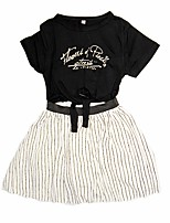cheap -Girl's Daily Striped Dress, Cotton Polyester Spring Summer Short Sleeves Simple Cute Black