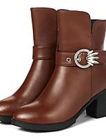 baratos -Mulheres Sapatos Pele Pele Napa Outono Inverno Botas da Moda Conforto Botas Salto Robusto Botas Curtas / Ankle para Preto Marron