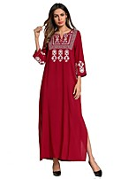 cheap -SHE IN SUN Women's Oversized Loose Dress - Floral Color Block Basic Embroidered Maxi