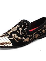 Недорогие -Муж. обувь Кожа Весна Осень Удобная обувь Мокасины и Свитер для Повседневные Золотой Красный