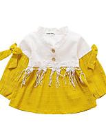 abordables -Robe Fille de Quotidien Couleur Pleine Polyester Printemps Manches Longues simple Rouge Rose Claire Jaune