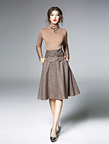 abordables -Mujer Conjunto - Color sólido, Color puro Cuello Alto Falda