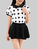 cheap -Girls' Daily Polka Dot Clothing Set, Polyester Summer Short Sleeves Active Black
