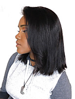 cheap -Human Hair Brazilian Lace Wig Straight Lace Front 180% Density Natural Black
