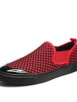 Недорогие -Муж. обувь Лён Весна Осень Удобная обувь Кеды для Повседневные Офис и карьера Черный Серый Красный