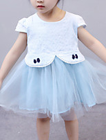 cheap -Girl's Daily Solid Patchwork Dress, Cotton Summer Short Sleeves Simple White Blushing Pink Light Blue