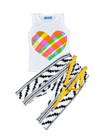 cheap -Girls' Daily Holiday Striped Print Clothing Set, Cotton Summer Sleeveless Cute Casual White