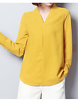 cheap -Women's Basic Blouse-Solid Colored,Print
