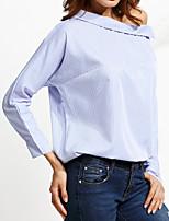 cheap -Women's Active Cotton T-shirt - Striped Off Shoulder