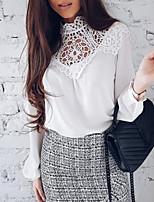 preiswerte -Damen Solide Bluse Spitze Ausgehöhlt Patchwork