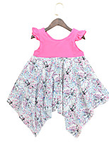 cheap -Girl's Daily Floral Dress, Cotton Summer Short Sleeves Cute Blue Fuchsia