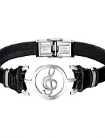 cheap -Men's Leather Bracelet - Casual Cool Music Notes Black Bracelet For Daily Date