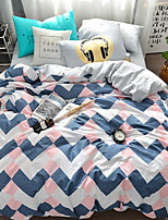 cheap -Duvet Cover Sets Lines / Waves 3 Piece Poly/Cotton Reactive Print Poly/Cotton 1pc Duvet Cover 1pc Sham 1pc Flat Sheet