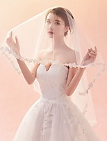 cheap -One-tier Lace Applique Edge Veil Wedding Veil Elbow Veils Fingertip Veils 53 Petal Pattern Lace Tulle