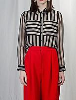 cheap -Women's Going out Street chic Shirt - Striped Shirt Collar