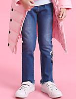 economico -Pantaloni Da ragazza Quotidiano Poliestere Tinta unita Fantasia floreale Primavera Vintage Blu