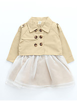 cheap -Girl's Daily Holiday Solid Dress, Cotton Polyester Spandex Spring Summer Long Sleeves Simple Active Khaki