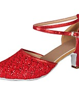 cheap -Women's Modern Paillette Leatherette Heel Party Professional Sequin Buckle Lace Cuban Heel Red 2 - 2 3/4 Customizable