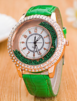cheap -Women's Floating Crystal Watch Chinese Quartz Casual Watch Leather Band Colorful Fashion Black White Blue Red Brown Green Rose