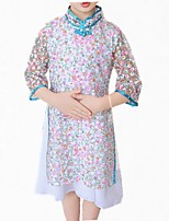 cheap -Girl's Daily Floral Dress, Cotton Polyester Spring Fall Long Sleeves Simple Cute Blue