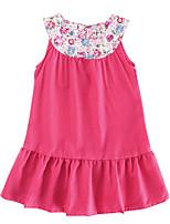 cheap -Girl's Daily Solid Dress, Cotton Linen Bamboo Fiber Acrylic Spring Sleeveless Simple Vintage Fuchsia