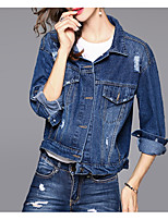cheap -Women's Street chic Cotton Denim Jacket - Solid Colored Shirt Collar