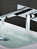 abordables -Moderne Montage mural Séparé Soupape céramique Mitigeur deux trous Chrome, Robinet lavabo