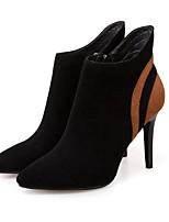 Недорогие -Жен. Обувь Кожа Осень Зима Модная обувь Удобная обувь Ботинки На шпильке Ботинки для Повседневные Черный Черный/Желтый