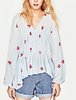 cheap -Women's Basic Blouse - Solid Colored Floral, Print V Neck