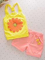 cheap -Girls' Daily Patchwork Clothing Set, Cotton Summer Sleeveless Active Yellow Fuchsia