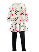 cheap -Girls' Daily Polka Dot Clothing Set, Polyester Spring Long Sleeves Simple Casual White