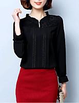 Недорогие -Жен. Кружева Рубашка Однотонный Вспышка рукава